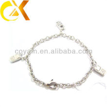 stainless steel jewelry cable bracelet with pendant