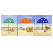Paisaje colorido paisaje de la playa / 3 paisaje marino del panel impresiones de la lona / imágenes caseras de la pared del paisaje de la decoración