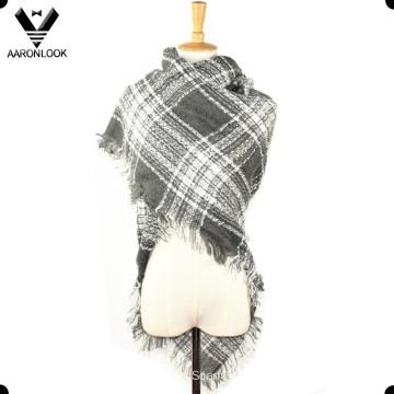 Ladies Winter Acrylic Fringe Edge Woven Knit Square Scarf