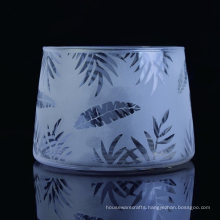 Trapezoidal Clear Glass Candle Vessels with Sandblasted Laser Logo