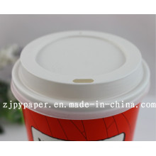 Paper Cup Lid Cover (White/black styrene travel lid) -Pcl-11