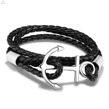Personality Handmade Stainless Steel Weave Twine Leather Anchor Bracelet