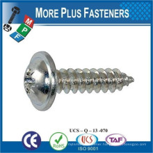 Made in Taiwan DIN 968 450 HV Pozi Crossed Pan Head Tapping Screw with Collar Form Z and Cone End Type C Steel Case Hardend
