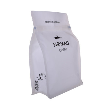 Matte White Flat Bottom Coffee Bags Dengan Valve