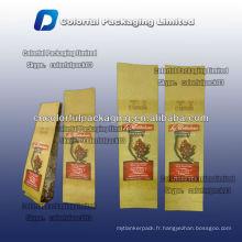 Sac d'emballage de papier d'aluminium pour le café avec la valve et la cravate d'étain / sac de café refermable de papier d'emballage avec la valve et la cravate d'étain