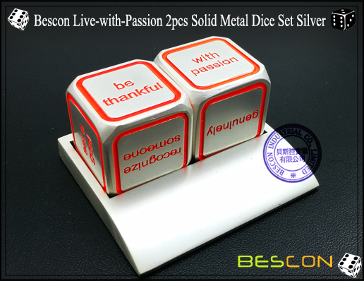 Bescon Live-with-Passion 2pcs Solid Metal Dice Set Silver-2