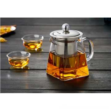 Haonai heat resistant teapot with stainless steel lid,Square borosilicate glass coffee pot.