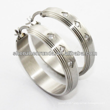 China supplier,2014 fashion crystal earring -stainless steel hoop earring for women