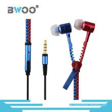 Fashion Mix Color Zipper Headset manos libres para teléfono móvil