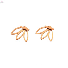 Edelstahl einfache Mädchen Bar Stud Leaf Ohrringe