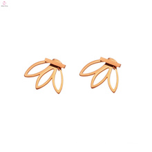 Stainless Steel Simple Girl Bar Stud Leaf Earrings