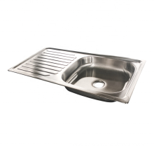Stainless Steel Single Bowl Washing Basin RV Kitchen Sink with Drain Board