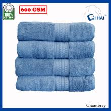 Sky Blue Satin Cotton Towel Sets (QAES9908)