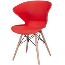 Moderner Kunststoff-Stuhl mit Holzbein
