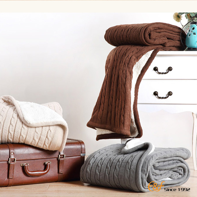 Double Side Heat Preservation Cashmere Knit Blanket For Winter