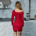 Weixin Womens Clothing Sexy Deep V Long Sleeve Split Ruched Detail Bardot Bodycon Dress