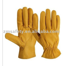 Yellow Goatskin leather Driver gloves