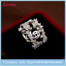 Luxo mumbai moda jóias branco zircão aberto anel mulheres anel de casamento
