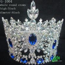 Nova forma de design grande evento redondo redondo coroa de beleza azul Tiara de strass