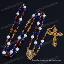 Gemischte Farben Kristall Perlen und rote Kupfer Perlen religiösen Rosenkranz Halskette, katholischen Rosenkranz