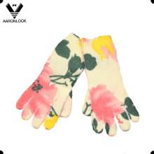 Inverno quente moda flor impressa luva cinco dedos