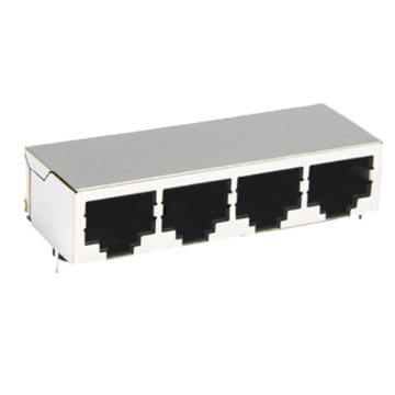 RJ45 Modular Jack 2 * 2P connector 10u GOLD 10P8C