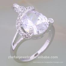 Recién llegado Weeding Rings Design Oro blanco plateado anillos con CZ joyas chapadas en rodio es su buena elección
