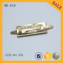 MB618 2016 Новый пользовательский логотип золотой металлический мешок тег