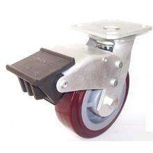 Rodízio de PU giratório de serviço pesado com travão duplo