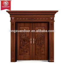 Portes d'entrée en façade personnalisées en usine, porte à double battante en bronze, porte de villa en cuivre
