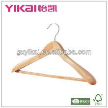 Cabide de madeira com ombros largos / barra quadrada e teech de borracha