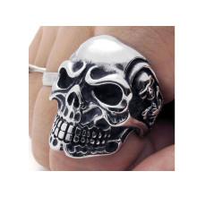 Anéis de crânio de aço inoxidável moda fresca para homens