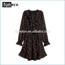 2018 con cuello en v impreso patrón de una sola pieza mujeres vestido suavemente corto falda de manga larga