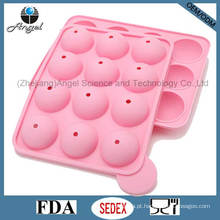 FDA LFGB Padrão 12 Cavidades Rodada Silicone Lolly Pop Candy Mold Mini DIY Bolo Silicone Molde Sc11