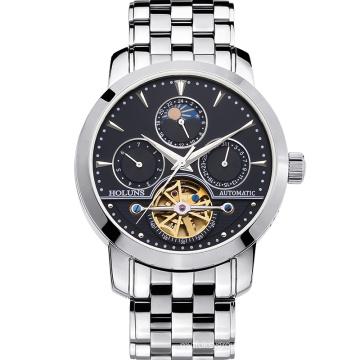 Luxury Watch Men Moon Phase Sapphire Waterproof Date Silver Stainless Steel Automatic Machine Watch Relogio Masculine