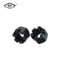 Hex slotted nuts carbon steel black zinc nut