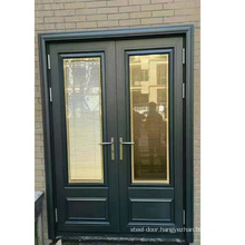 Cheap Exterior Double Glass Swing Casement French Door With shutter