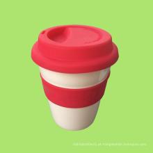 Caneca de café de plástico de 330 ml, copo de café, caneca de café de plástico com tampa de silicone