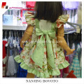 JannyBB sweet green floral printed apron dress