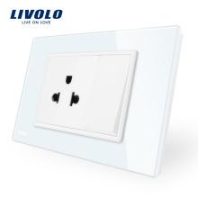 Commutateur à pression Livolo avec prise de courant, panneau en verre cristal blanc / noir VL-C9C1US1K-11/12
