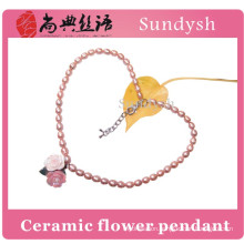 fashion ceramic flower pendant handmade white baroque cultured real freshwater pearl necklace price