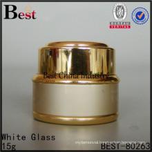 empty 10g aluminum jar, gold color metallic cosmetic skin care cream container