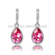 India hottest white gold jewelry bridal ruby wedding earrings