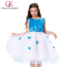 Grace Karin Sleeveless Cheap Flower Girl Dress White and blue CL007552-1