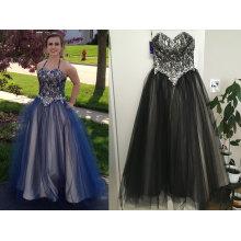 Ball-Kleid Schatz bodenlangen Tüll Spitze Prom Dress mit Perlen Sequins
