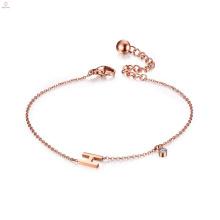 Custom Crystal Rose Gold Letter Alphabet H Initial Bracelet