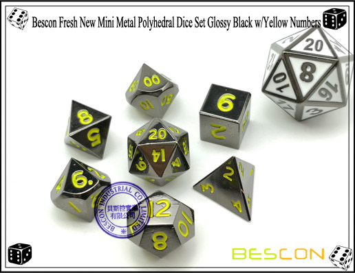 Bescon Fresh New Mini Metal Polyhedral Dice Set Glossy Black with Yellow Numbers-1