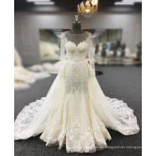 Vestidos De Novia Brautkleid Fischschwanz Perlen Perlen Spitze Appliques Sexy Meerjungfrau Hochzeitskleid