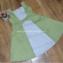 Green White Splice A Line Dress