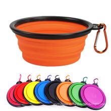 Tazón de fuente para mascotas de alimentación de agua de comida de senderismo de viaje de silicona